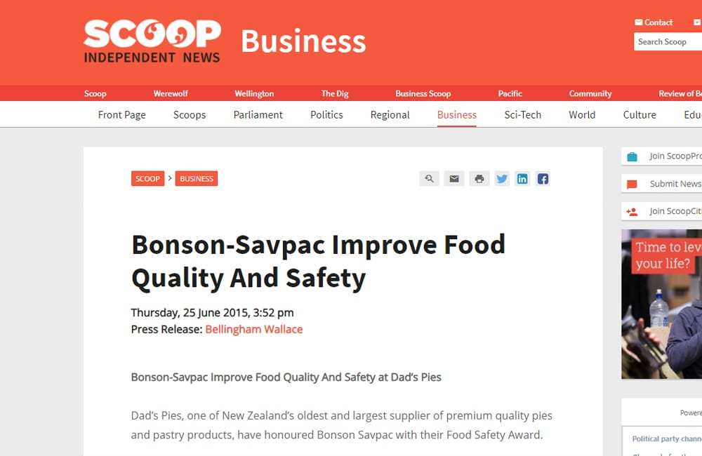 Bonson improves food quality and safety for Dad's Pies – scoop.co.nz